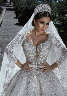 Glamorous Long Sleeves Tulle Appliques Wedding Dresses Crystal Bridal Ball Gowns with Bow BA7970_3