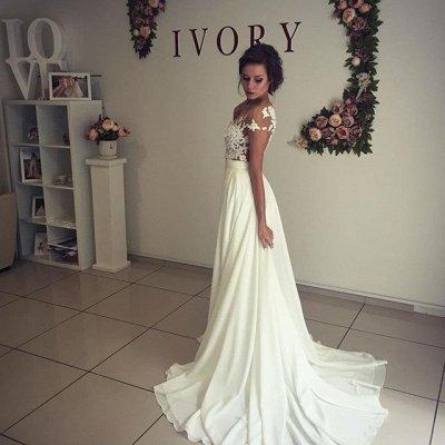 Elegante apliques de encaje vestido de novia gasa larga dividida_6