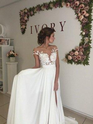 Elegante apliques de encaje vestido de novia gasa larga dividida_4