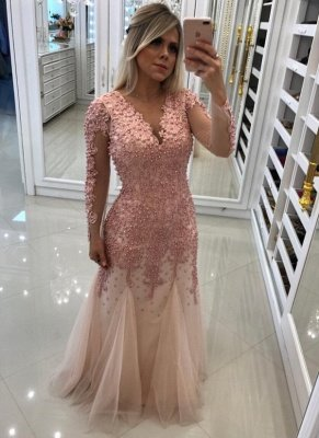 Luxury Mermaid Pearls Prom Dresses | V-Neck Long Sleeves Lace Applique Tulle Evening Dress