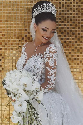 Luxury Beaded Lace Mermaid Wedding Dresses with Sleeves | Sheer Tulle Appliques Cheap Bride Dresses_3