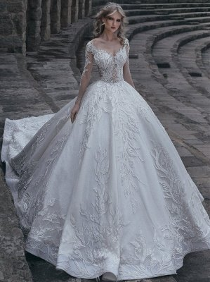 Elegant Long Sleeve Wedding Dresses Online | Appliques Lace Wedding Gowns Cheap