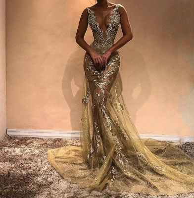 Glamorous Beads Straps Sleeveless Mermaid Evening Gown | Long Evening Dress_3