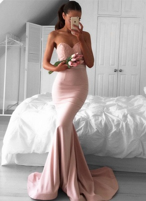 Newest Sweetheart Sleeveless Mermaid Sweep-Train Prom Dress