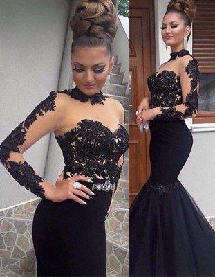 Gorgeous Black Lace Prom Dress Long Sleeve Mermaid Long Party Dress BA8045_1