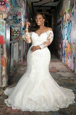 Manches longues col en V, plus la taille des robes de mariée sirène pour le mariage_1