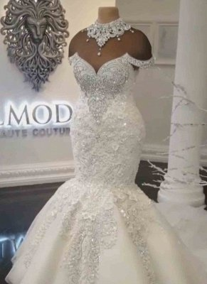 Luxury Crystals Mermaid Wedding Dresses | Off-the-Shoulder Appliques Bridal Gowns_2