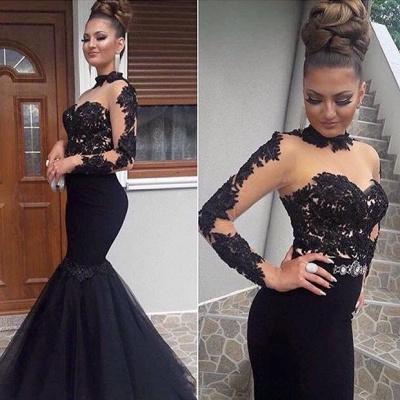 Gorgeous Black Lace Prom Dress Long Sleeve Mermaid Long Party Dress BA8045_3