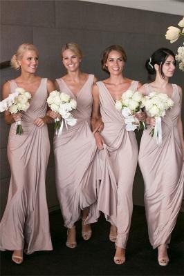 Elegantes V-Ausschnitt Brautjunfer Kleid Billig | Langes Brautjungferkleid Online Kaufen BA7824_1