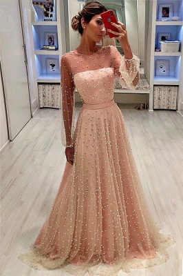 See Through Tulle Bubble Sleeves Prom Dress | Full Beading Long Sleeve Evening Dresses BC0617_1