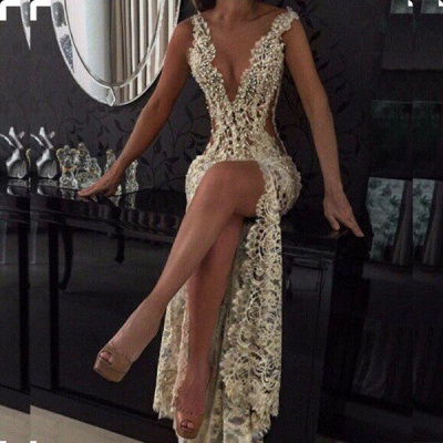 Sexy V-Neck Sleeveless Prom Dresses Lace Slit Beadings BA2786_3