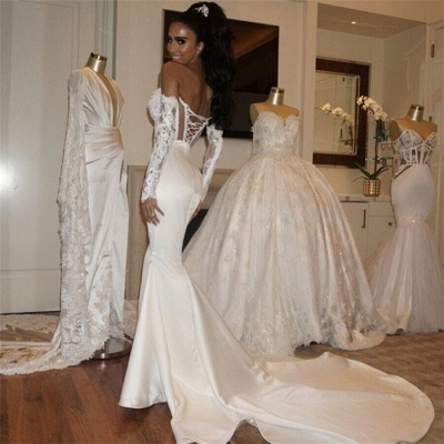 Fit and Flare Satin Elegant Wedding Dresses | Wholesale Sweetheart Lace-Up Bridal Gowns_3