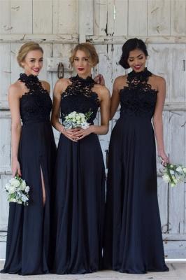 Halter Lace Chiffon Bridesmaid Dress with Split Sleeveless Sexy Maid of Honor Dresses BA7430_1