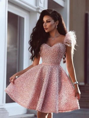 Classic Beading Homecoming Dress  Luxury Feather Pink Party Dress_1