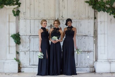 Halter Lace Chiffon Bridesmaid Dress with Split Sleeveless Sexy Maid of Honor Dresses BA7430_4