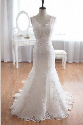 New Arrival V-Neck Mermaid Lace Bridal Gown Bowknot Open Back Sweep Train Wedding Dress_1