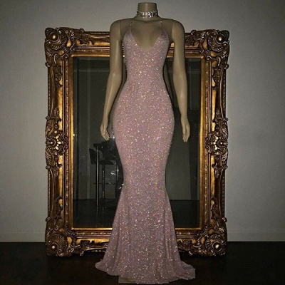 Stunning Sequined Mermaid Spaghetti-strap Long Sleeveless Prom Dress_7
