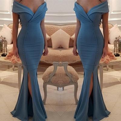 Elegant Off-the-Shoulder Slit Mermaid Buttons Evening Dress Long On Sale BA7331_3