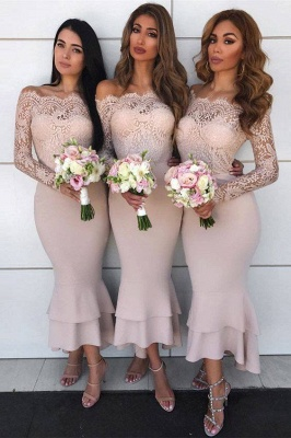 Sexy Mermaid Off-shoulder Lace Appliques Prom Dresses | Elegant Mermaid Ankle Length Wedding Party Dresses_1