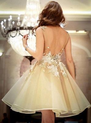 Wunderschöne A-Line Blumen Homecoming Kleider | Ärmelloses Kurzes Hoco Kleid mit offenem Rücken_3