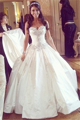 Sweetheart Ball Gown Plus Size Wedding Dresses Crystals Beads Chapel Train Princess Wedding Gowns BO9568_1