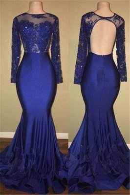 Robes de bal sexy modèle dos royal bleu royal | Robe de soirée sirène en dentelle à manches longues BA7863_1