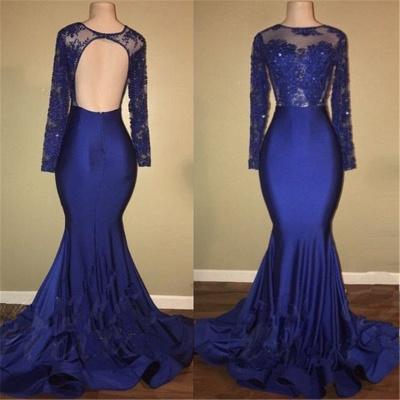 Robes de bal sexy modèle dos royal bleu royal | Robe de soirée sirène en dentelle à manches longues BA7863_5