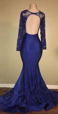 Robes de bal sexy modèle dos royal bleu royal | Robe de soirée sirène en dentelle à manches longues BA7863_4