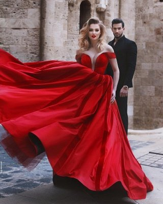 Glamorous Off-the-Shoulder Evening Dress | Red Long Prom Dress_5