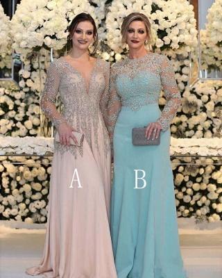 Charmante robe de bal en dentelle à manches longues | Robe de bal fendue sur le devant Robe de mère de mariée