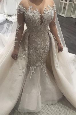 Glamorous Mermaid Lace Brautkleider 2019 | Sexy schiere Tüll Brautkleider mit Knöpfen BC0535_1