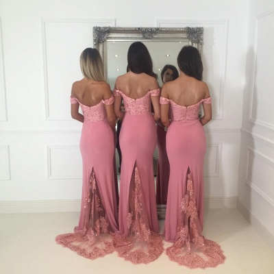 Beads Lace Off The Shoulder Bridesmaid Dress | Open Back Sexy Pink Maid of Honor Dresses BA9882_4