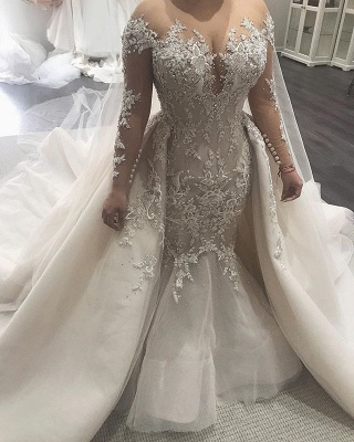 Beautiful Mermaid Wedding Dresses with Tulle Overskirt| Sexy Lace Dresses for Weddings BC0535_3