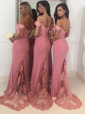 Beads Lace Off The Shoulder Bridesmaid Dress | Open Back Sexy Pink Maid of Honor Dresses BA9882_3