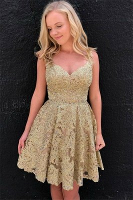 Sexy V-neck Gold Lace Short Homecoming Dresses Online | Sleeveless Cheap Hoco Dresses