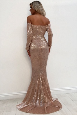 Unique Off The Shoulder Sparkly Sequins Wholesale Evening Dresses    Elegant Long Sleeve Fit and Flare Prom Dresses Online bc1633_3