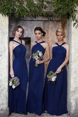 Modern Halter Royal Blue Long Chiffon Wedding Party Bridesmaid Dress_3