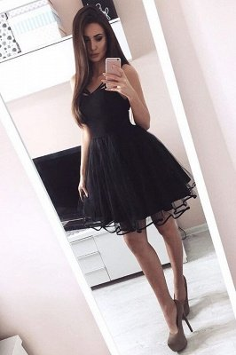 956d8d6526c59 Little Black Short Homecoming Dresses | Cheap Online Pretty Tulle Hoco Dress