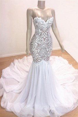 Sexy Straps Mermaid Appliques Wedding Dresses Ruffles Bridal Gown