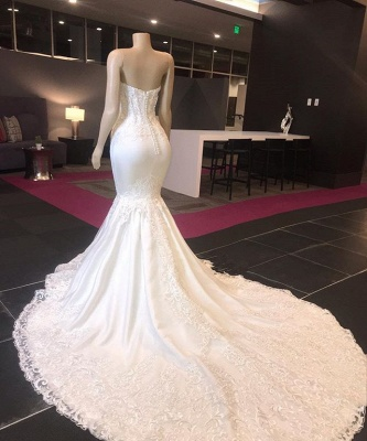 Sexy Strapless Lace Appliques Mermaid Wedding Bridal Gowns 2020_2