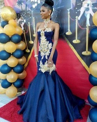 Robes de bal sexy sirène bleu marine | Robes de soirée appliques col haut SK0154_3