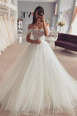 Short sleeves Off-the-shoulder Tulle Ball Gown Wedding Dress_1