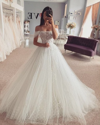 Short sleeves Off-the-shoulder Tulle Ball Gown Wedding Dress_2