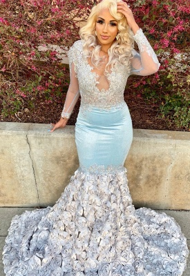 Fit and Flare Silver Flowers Baby Blue Cheap Prom Dresses | Sheer Tulle Elegant Long Sleeve Appliques Prom Gowns BC1466_3