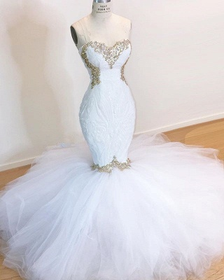 Sweetheart Sleeveless Lace Tulle Appliques Sequins Mermaid Wedding Bridal Gowns_2