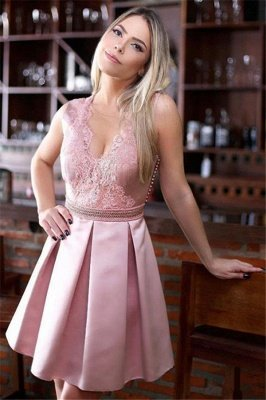 Pink Sheer Tulle  Homecoming Dresses Cheap | Sleeveless Beads Appliques Short Homecoming Dress
