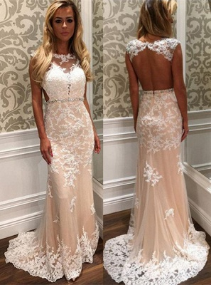Gorgeous Lace Open-Back Crystal Tulle Long Prom Dress