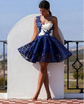 Cute One Shoulder Lace Homecoming Dress Short Prom Dress_1