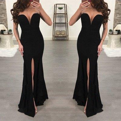 Robe de Soirée Noire Sexy Chérie | Robe de bal sirène 2021 avec fente_4