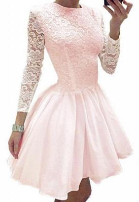 Short  Lace Homecoming Dress Long Sleeves Hoco Dresses_1